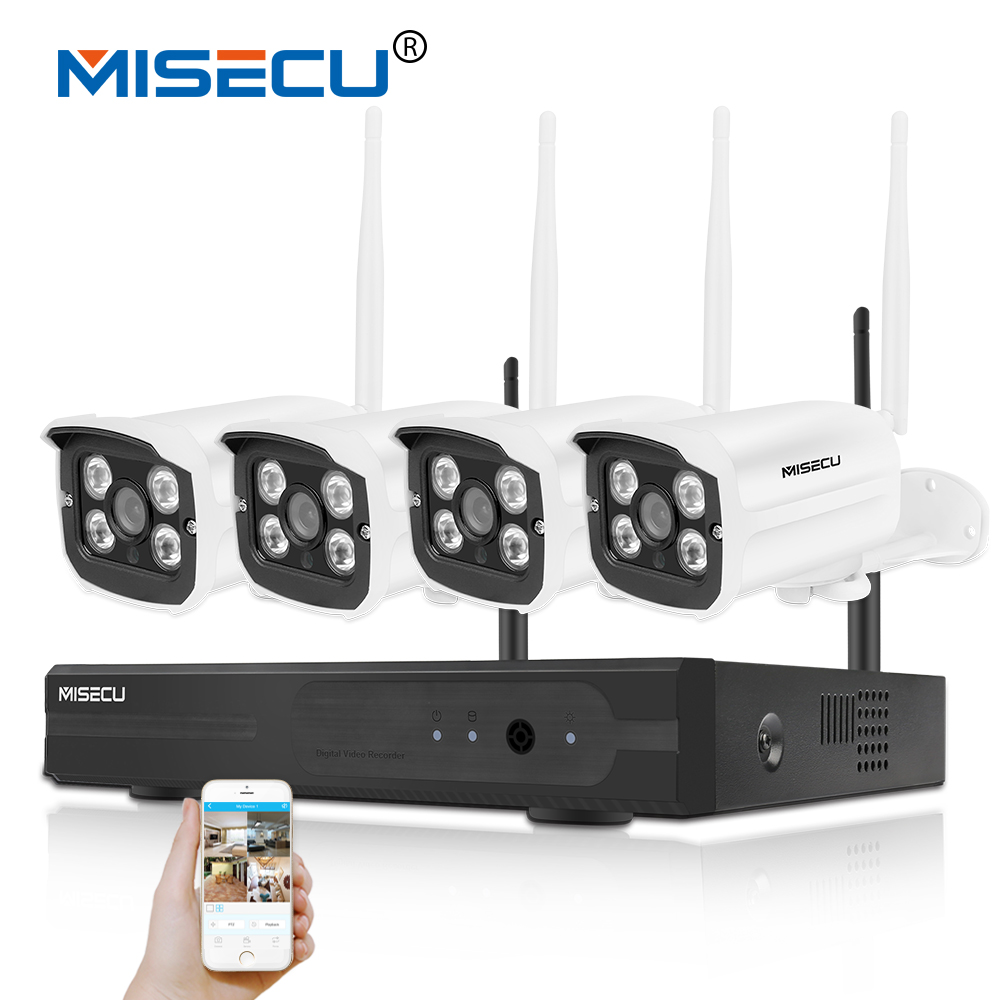 MISECU Easy installation plug&play 2.4G wifi KIT 720P 1080P VGA/HDMI 4CH NVR Wireless P2P 720p WIFI IP Camera Waterproof CCTV mesbang 720p 4ch wireless ip camera nvr kit one key to set up easy installation free shipping fast