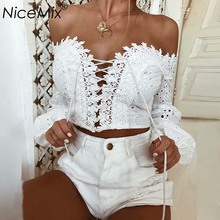 NiceMix 2019 Summer Plus Size Womens Tops Blouses Sexy Lace Crop Top Blusa Female Loose Long Sleeve Harajuku Bandage Shirt Femme