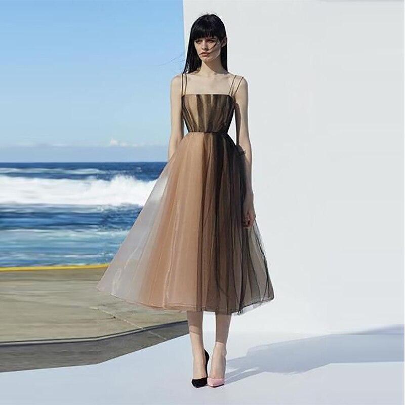 Verngo Vintage Organza Champagne Black A-line Prom Dresses Tea Length Spaghetti Strap Gown