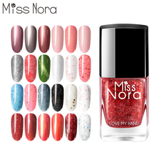 MISS NORA Soak Off Tearable Nail Polish 6ml Peel Varnishes Metalic Glitter Gel Bling Top Coat Nails Set Art