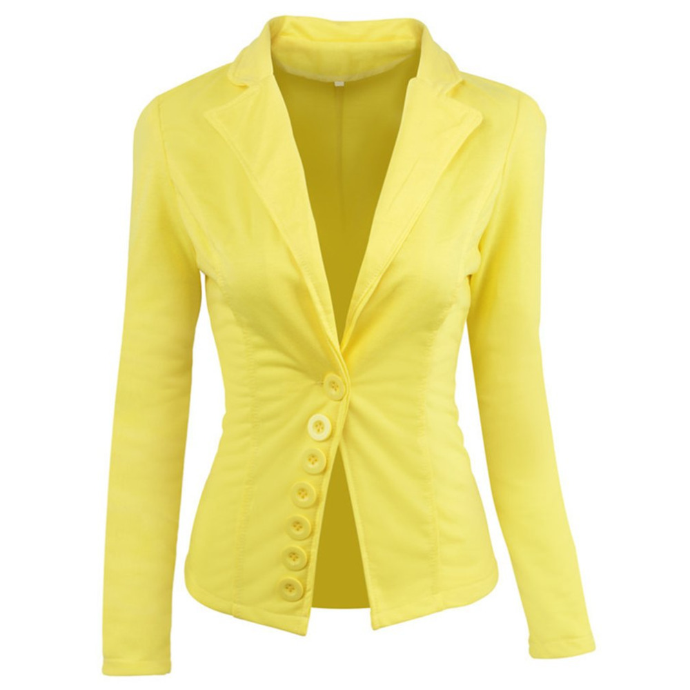 Office Lady Blazer Suits Single-breasted Long Sleeves Small Suit Lady Casual Short Jacket Womens Fashion Yellow Short Outerwear