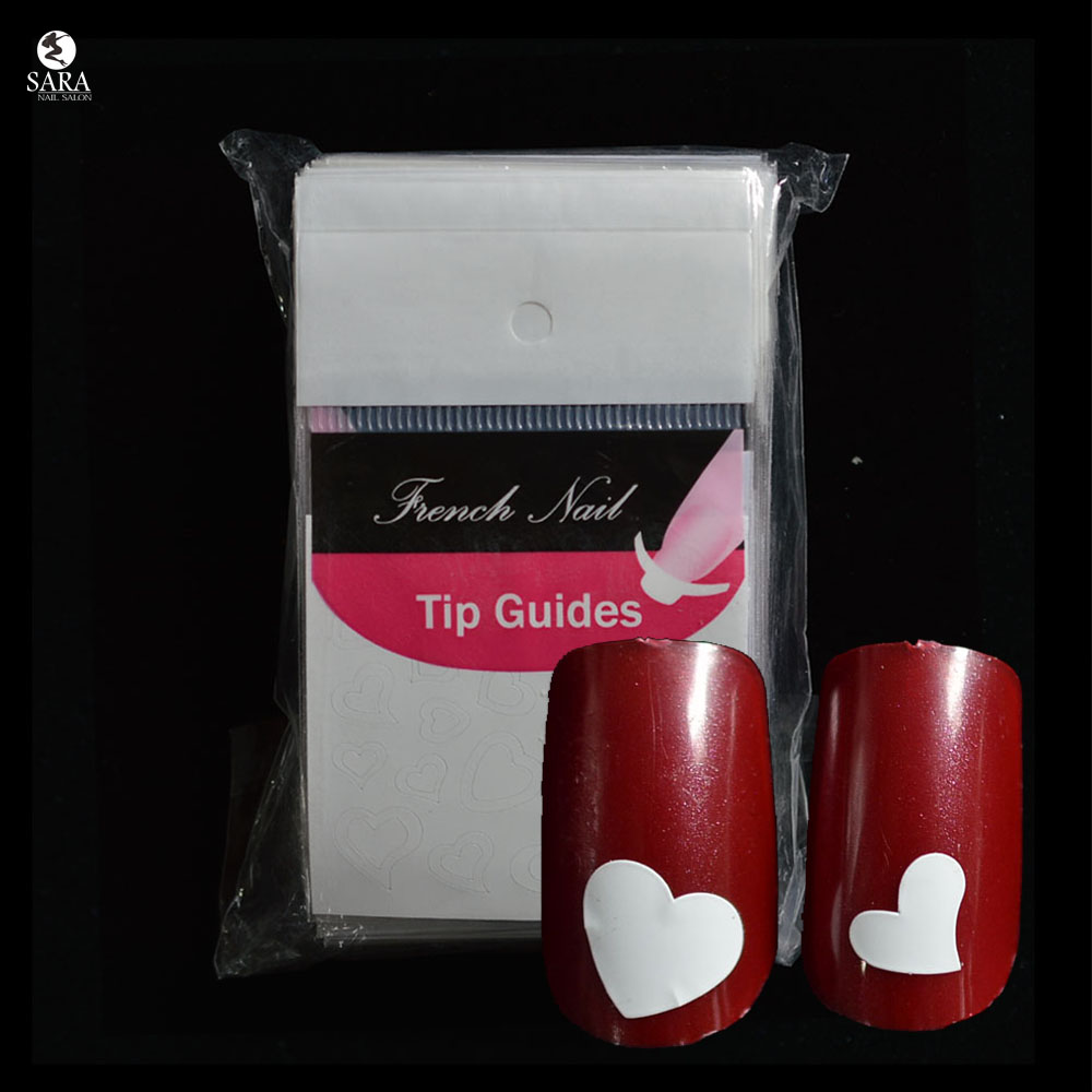 Nail Salon 1pcs Cute Heart Shape DIY French Manicure Nail Art Decorations Form Fringe Guides Nail Sticker SAFJ021