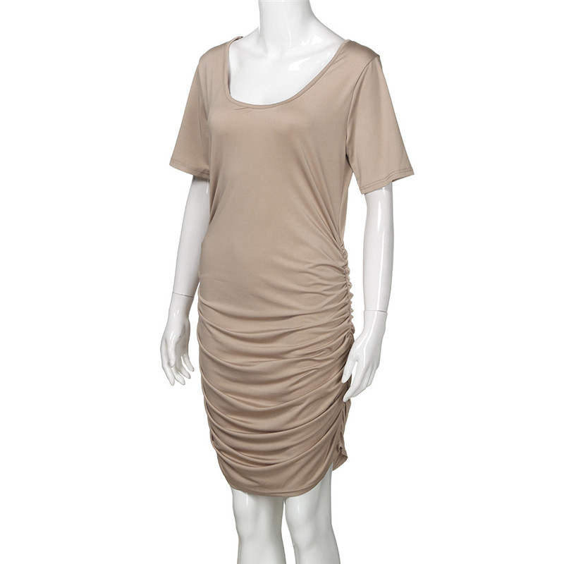 Telotuny Clothing For Maternityl Women Summer Wraped Ruched Maternity Pregnant Solid Short Sleeve Short Dress JU 19