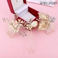 3pcs Set Wedding Bridal Prom Princess Crystal Rhinestone Gold Diamante Flower Hair Pins Clips Grips Hair Comb Headband
