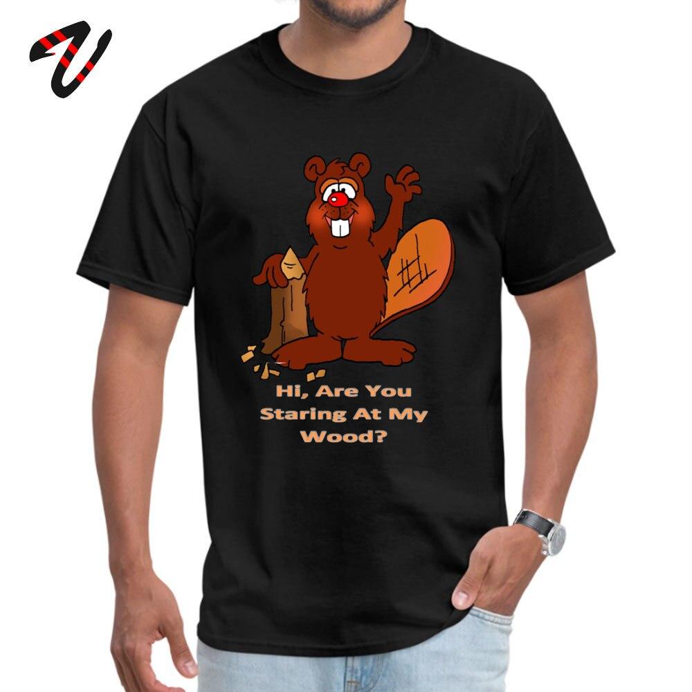 Printed On Tshirts New Design Round Neck Beaver Wood All Cotton Boy Tops Shirt Leisure Short Sleeve Tee-Shirts Beaver Wood 7374 black