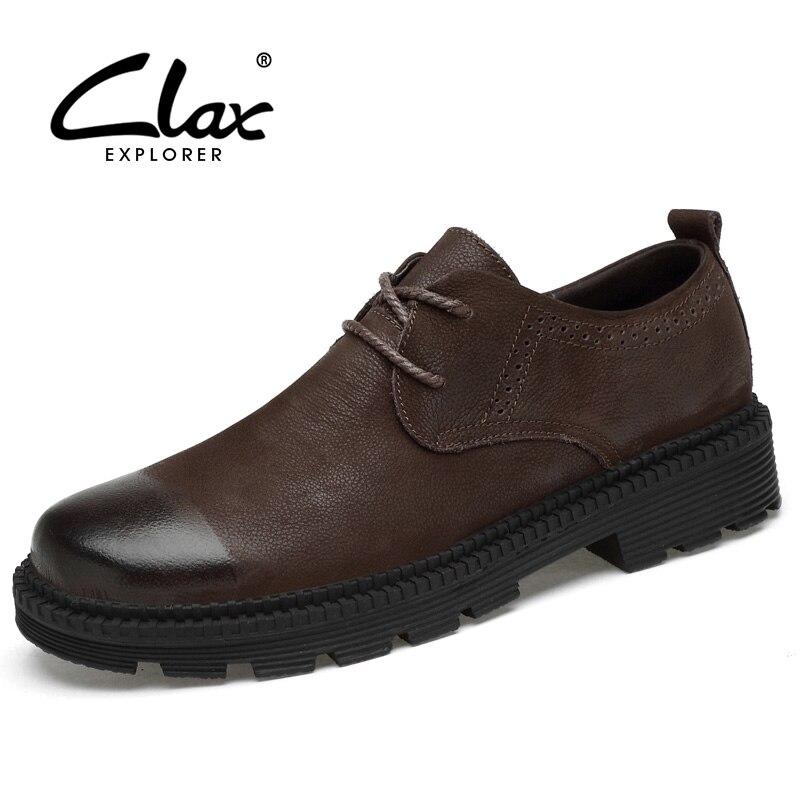 CLAX Для мужчин кожаные туфли из натуральной кожи Демисезонный дизайнер Для мужчин Повседневное прогулки Footwar На зимнем меху Мужская обувь пл...