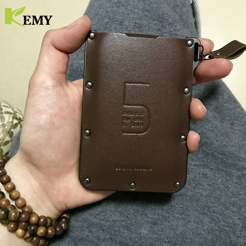 KEMY New Arrival Genuine Leather  Pulled Men Wallets Mini Portable Bank Business ID 5 Cards Holder Ultra-Slim Women Short Purse