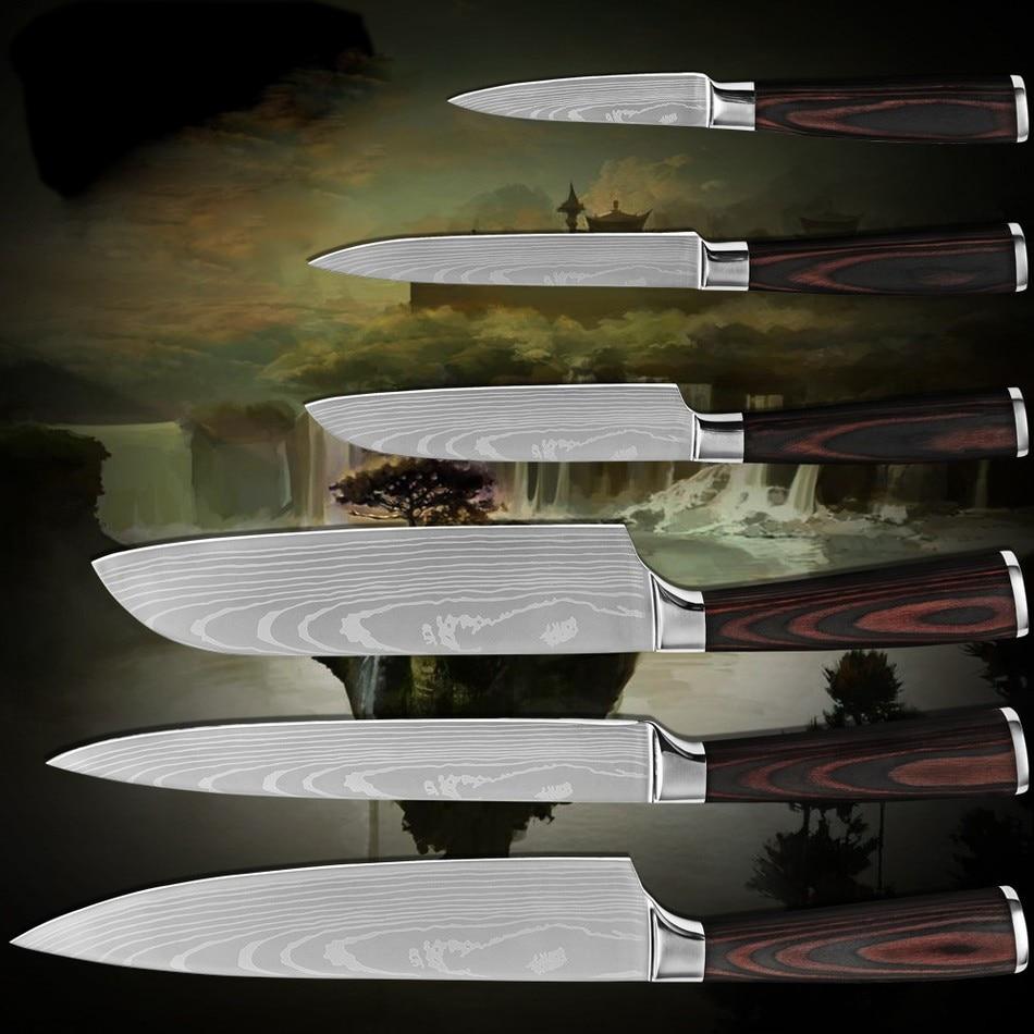 ≧Utilidad 2 * santoku rebanar chef cuchillos de cocina de acero ...