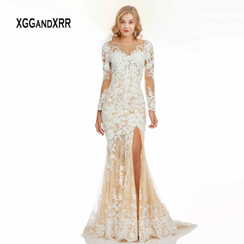 cfee81cdd85 Elegant Long Sleeves Mermaid Prom Dress 2019 Luxury Lace Evening Dress  White Lace Applique Side Slit