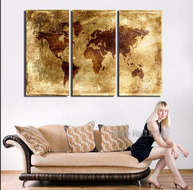 Online shop new arrival modular large abstract world map canvas art new arrival modular large abstract world map canvas art print golden metallic earth maps painting poster wall picture for home d gumiabroncs Images