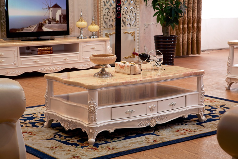 European Style Center Table With Marble For Living Room