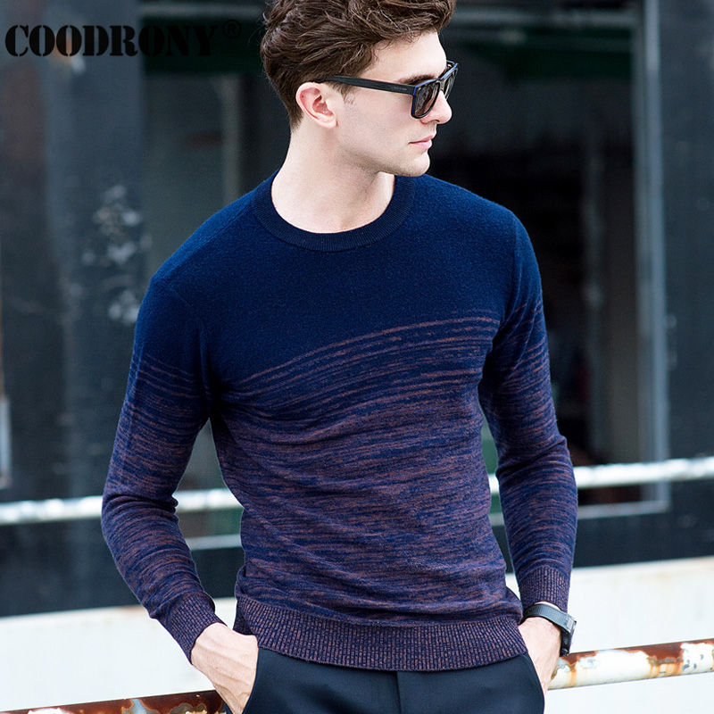 100% Merino Wool Sweater Men Winter Christmas Thick Warm Cashmere Sweaters Fashion Gradient Color Print O-Neck Pullover Men 6325 1