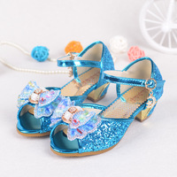 Children Princess Sandals Kids Flower Wedding Shoes High Heels Dress Shoes Party Shoes For Girls Shiny