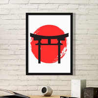 Japanese Style Japan Culture National Flag Umbrella Abstract Brush Painting Picture Frame Art Prints Paintings Home