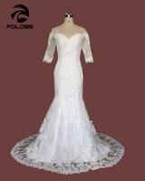 Custom Made Vestido De Novia White Ivory Satin Applique Beading Lace Mermaid Wedding Dress Vestido De