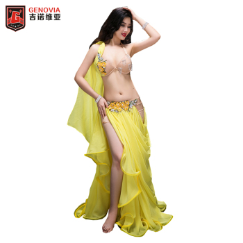 High quality belly dance costume wear stage performance Handmade 2pcs suit Bra&Long skirt Luxury Women Belly Dance Colour Yellow
