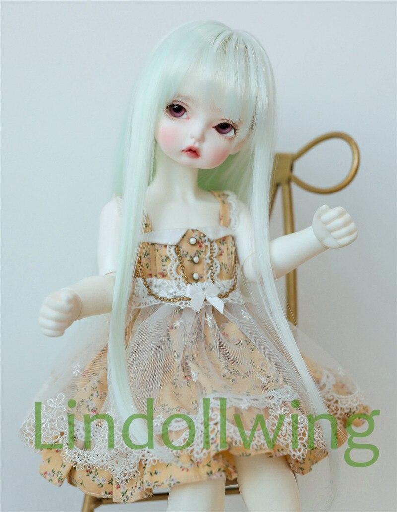 1/3 BJD Wig Pullip DD SD Dollfie Doll Wig High Temperature Hair 8-9 Inch Wig Long Mint Hair
