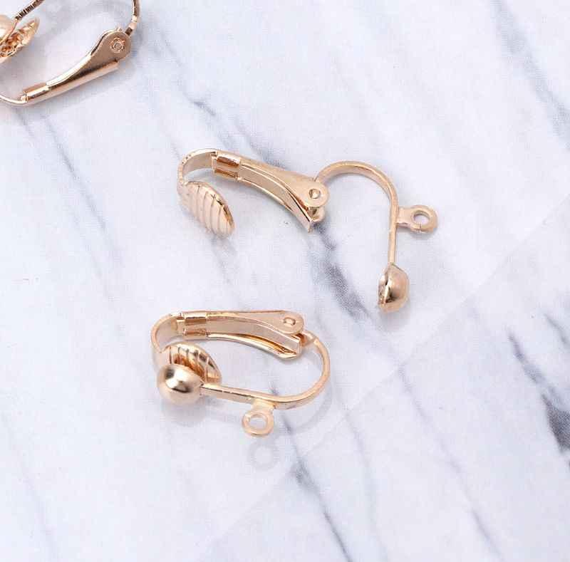 10 Buah Klip Pada Anting-Anting Converter dengan Mudah Loop Terbuka Tidak Ada Pierce Telinga Membuat Perhiasan
