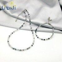 Lii Ji Natural Gemstone 3mm Sparking Tourmaline Aquamarine Moonstone Rhodochrosite Jewelry Set For Women or Men Daily Wear
