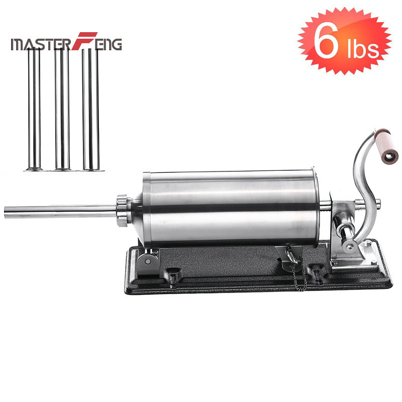 6 LBS homemade sausage stuffer filler stainless steel manual table mounted sausage maker sausage syringe maker