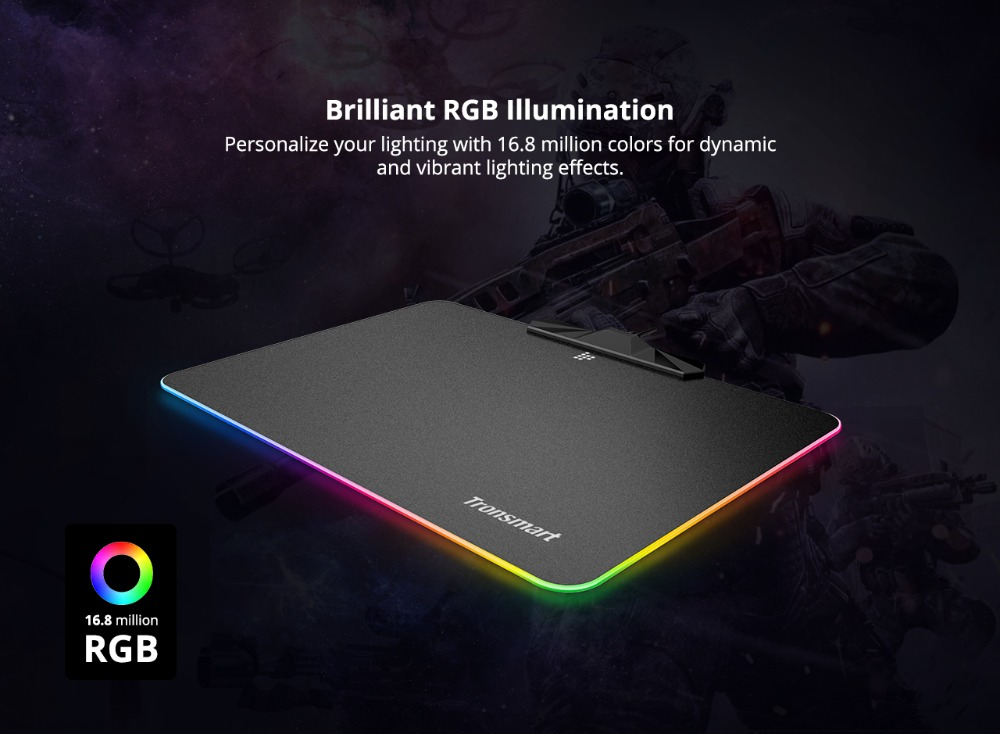 Tronsmart Shine X RGB Gaming Mouse Pad Compupter Mouse Pad Gamer USB Mat with 8MB flash memory,16.8 Million Colors,Touch Sensor 2