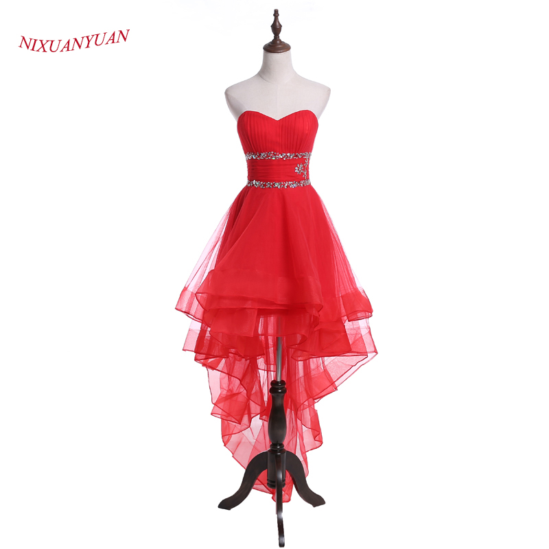 NIXUANYUAN 2017 New Design High Low   Prom     Dress   2017 Sweetheart Beaded Formal   Dresses   Red Tulle vestidos de baile Back Lace UP