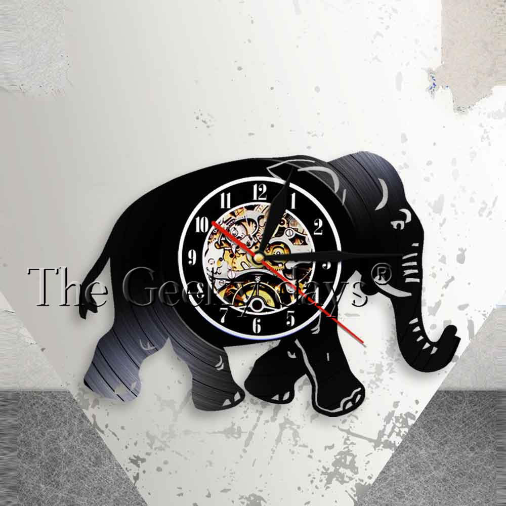 Walking Elephant Nursery Wall Clock Elephant Illustration Wall Art Safari African Animals Vintage Vinyl Record Clock Wall Watch