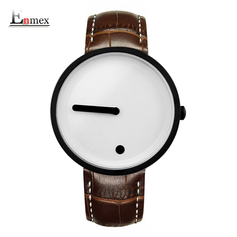 Gift Enmex cool colour Minimalist style wristwatch creative design Dot and Line simple stylish with quartz fashion watch
