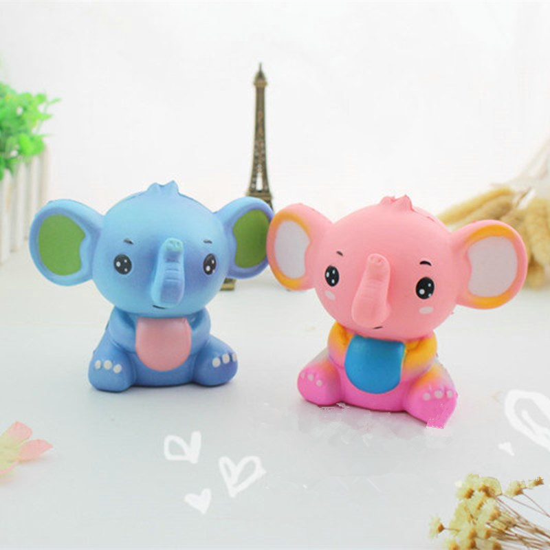 New Cute Jumbo Colorful Cartoon Elephant Squishy Slow Rising Phone Straps Soft Squeeze Cream Scented Bread Cake Gift Kid Fun Toy