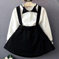Toptan sonbahar elbise kız okul çocukları geri gitmek siyah ile beyaz ceket içine bebek kızın etek kız sonbahar giysi