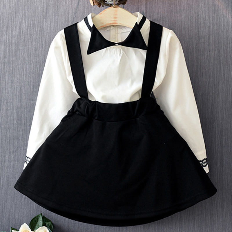 Wholesale autumn clothes girl to go back to school children into white jacket with black baby girl's skirt girl autumn clothes мочеприемник для водителей go girl