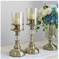 Beautiful crystal metal candlestick crafts ornaments, home desktop decorations,
