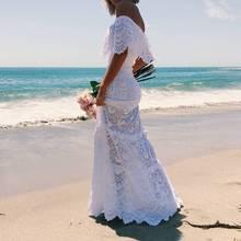 Women Long Dresses 2019 Plus Size Beach Tunic Kaftan Summer Womens Clothes White Bohemian Sexy Lace Off Shoulder Dress Ropa