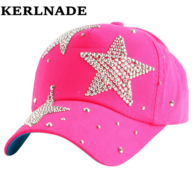 New fashion beauty cute children   caps   wholesale pretty design rhinestone star child kids boys girs   baseball     cap   hats