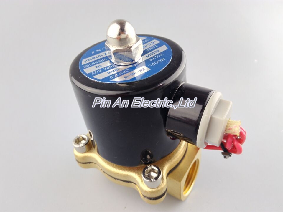 Free Shipping New Brass 12V DC 1/2 Electric Solenoid Valve Water Air Fuels Gas Normal Closed free shipping hotsell new 1 4 electric solenoid valve 12 volt dc 12vdc air water ep98