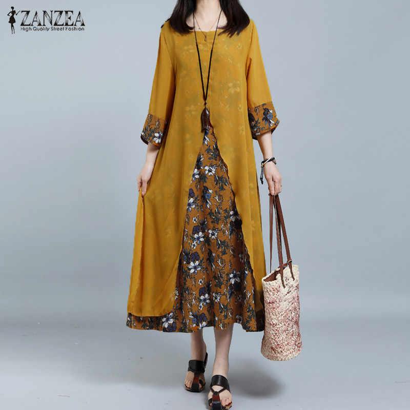 2019 ZANZEA винтажное женское длинное платье с принтом женский пляжный сарафан с разрезом Элегантное повседневное вечернее платье Chiffion Patchwork Vestido