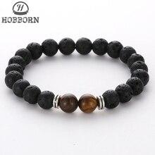 HOBBORN Trendy Women Men Beads Bracelet 8mm Black Lava Stone Chakra Natural Strand Healing Unisex Yoga Bracelets Pulsera