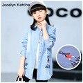 Jocelyn Katrina Niños Niñas Camisas de Manga Larga Primavera Otoño de Algodón Adolescente Niñas Blusa de Las Muchachas Chaquetas Chicas Grandes Camisas Largas