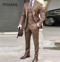 Mens suit Groom Tuxedos Brown Prom Wedding Men Suit Slim Fit Cotton Blend Formal Suit For Men Slim Fit 3pcs(Jacket+Pants+Vest)
