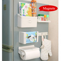 5 IN 1 Multifunctional Kitchen Organizer Holder Refrigerator Spice Jar Shelf Magnetic Sidewall Rack Hook Tissue Box Space Saving