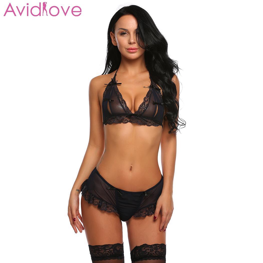 Avidlove Women Sexy Set open bra Exotic Exotic Apparel Halter Lace Patchwork Sex