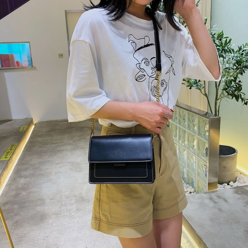 Contrast Color PU Leather Crossbody Bags For Women 2020 Travel Handbag Fashion Simple Shoulder Messenger Bag Lady Crossbody Bags