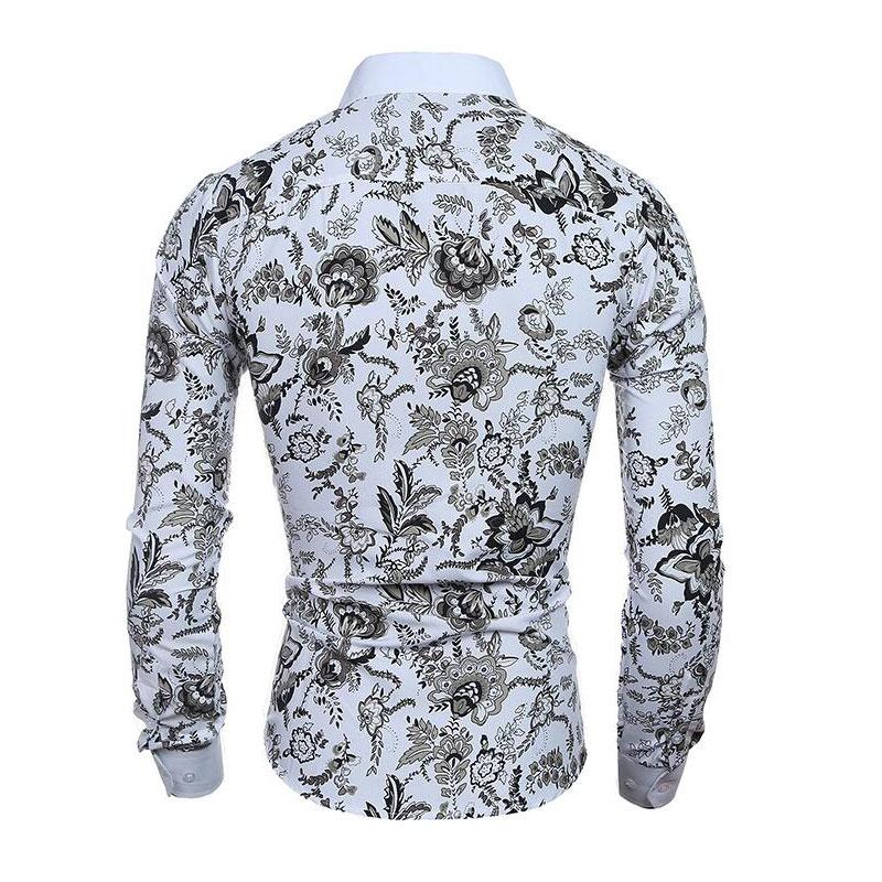 Hombres camisa de la flor 2019 Nueva impresión 3D Moda Casual Slim - Ropa de hombre - foto 2