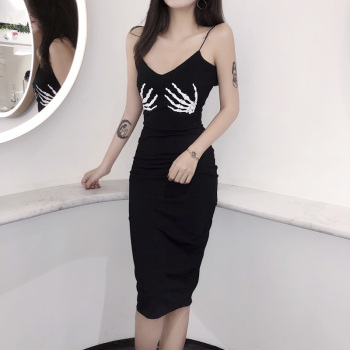 Summer Sexy Dresses Women Black Party Dress Skull Hand Printing Sleeveless V Neck Slim Dress