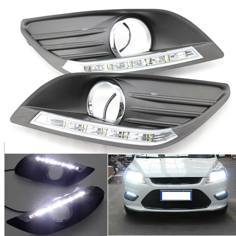 2 PCS High Quality LED Daytime Running Light DRL For Ford Focus Sedan 2009 2010 2011 2012 2013 Fog Lamp Modify Waterproof ecahayaku 1set 12v waterproof daytime running light drl fog lamp with fog hole for ford focus hatchback 2009 2010 2011 2012 2013