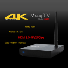 MeasyMeasy 1 GB DDR3 8 GB ROM Android 5.1 TV Box Amlogic B4TS S905 Quad Core Completamente Cargado 4 K H.265 XBMC WiFi HDMI Mini PC Inteligente TV