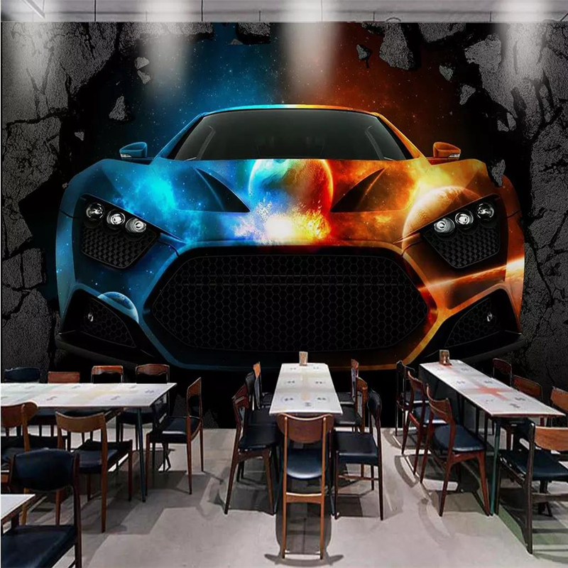 Custom wallpaper murals 3d bar KTV cool luxury car broken wall background high grade waterproof silk material in Wallpapers from Home Improvement
