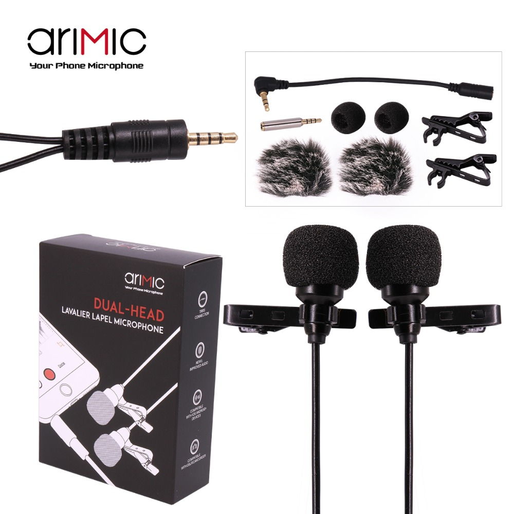 AriMic Dual-Head Clip on Lapel Microphone Lavalier Omnidirectional Condenser Recording Mic for iPhone Sumsang DSLR Camera Phone