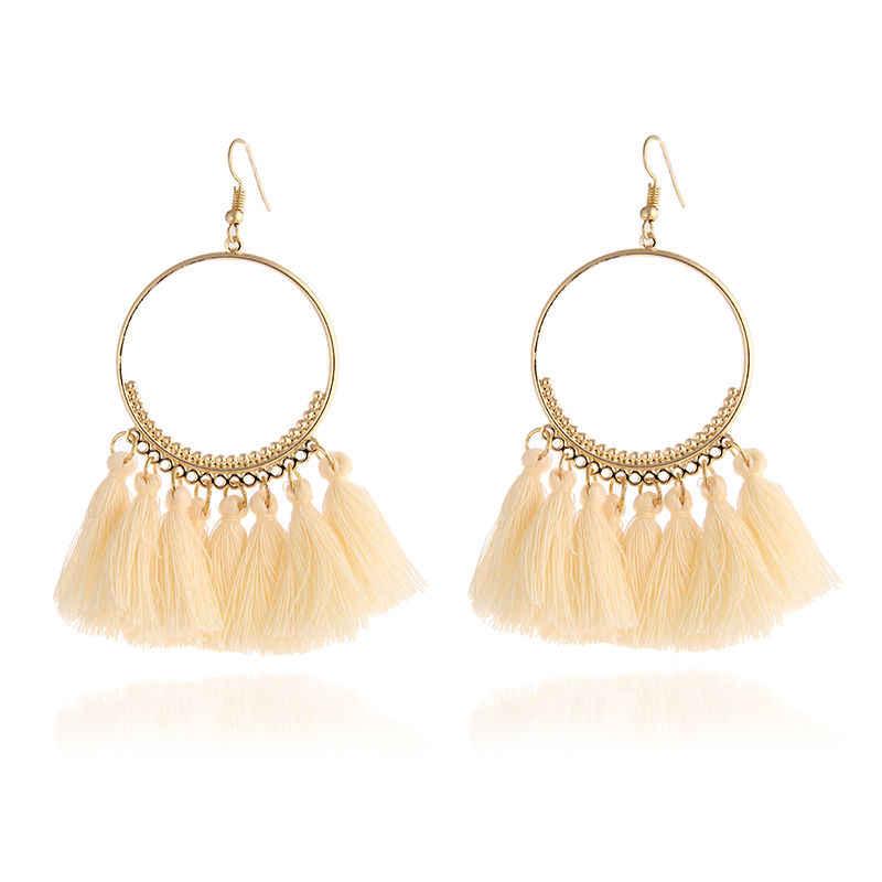 Bohème boucles d'oreilles à la main pour les femmes Boho Style femme gland boucle d'oreille femme bijoux mariée à franges Vintage longues boucles d'oreilles cadeaux