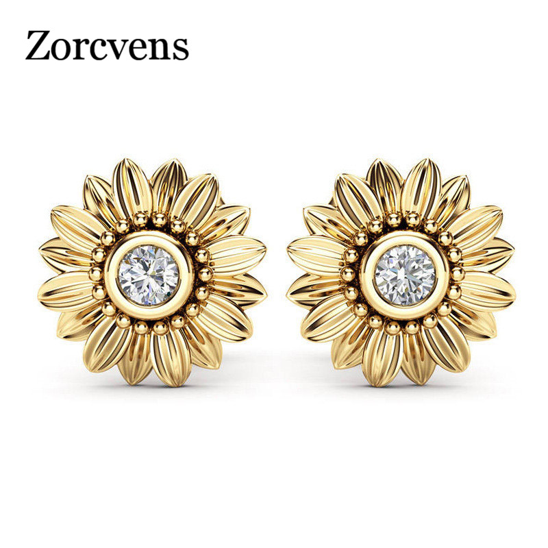 ZORCVENS 2018 New CZ Stone Fashion Jewelry Femme Gold Silver Color Cute Sunflower Crystal Stud Earrings for Women